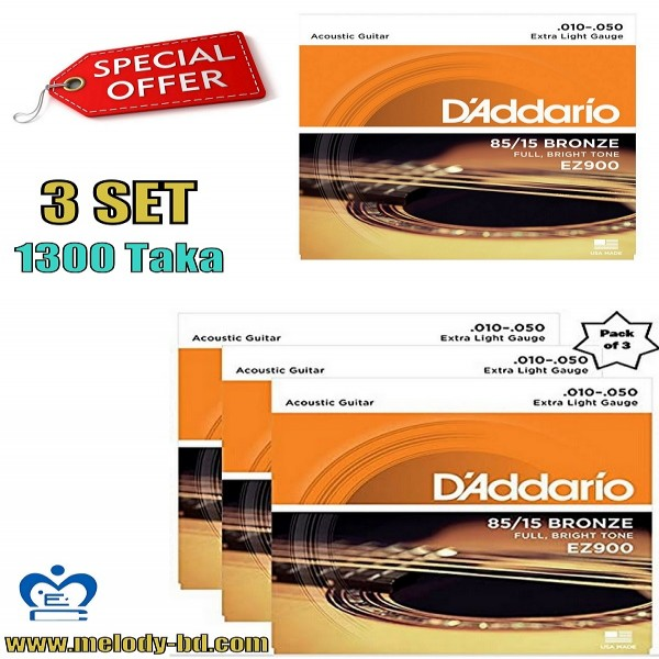 Daddario Ez 900 3 Set Acoustic Strings