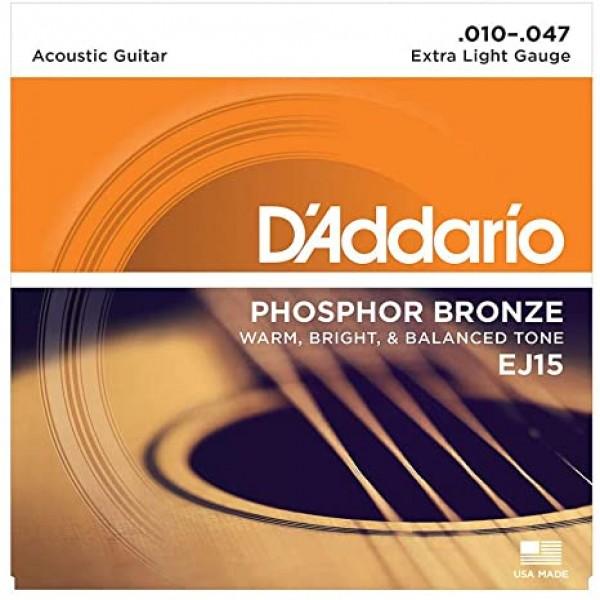 D'Addario EJ15 Phosphor Bronze Acoustic Guitar Strings - .010-.047 Extra Light